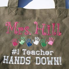 Teacher Tote Bag by maggiesembroidery on Etsy