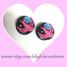 Pink Swallow rose plugs 1 by AccentAria on Etsy