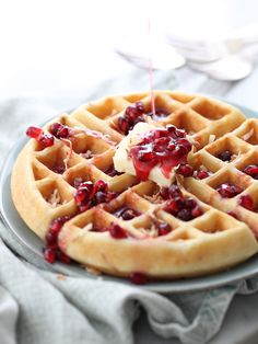 Coconut Waffles with Pomegranate Syrup with three layers of coconut flavor | foodiecrush.com
