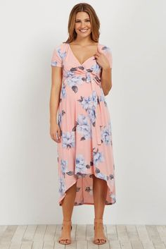 Pink Floral Hi-Low Wrap Dress