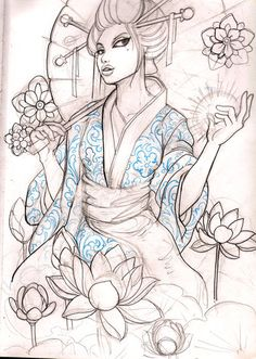 geisha 10 sketch by mojoncio on DeviantArt Geisha Tattoos, Geisha Tattoo Sketch, Tattoo Sketches, Tattoo Drawings, Art Sketches, Art Drawings, Geisha Tattoo Sleeve, Geisha Tattoo Design, Geisha Kunst
