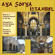 A wonderful old building that started out as a Christian church for about a thousand years, then a mosque for Now an awesome museum.istanbul's most famous attraction. Travel Scrapbook, My Scrapbook, Scrapbooking, Christian Church, 2 Year Olds, Travel Memories, Old Buildings, Mosque, Istanbul