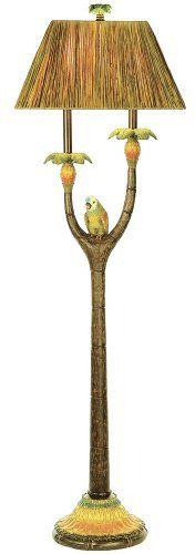 OMG LOVE IT !!  tiki pinapple bird palmtree tropical floor lamp