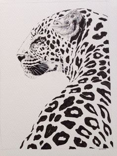Leopard ink drawing, beautiful and majestic animal print on Etsy, £15.00