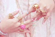 Statement jewelry. Rings. Pastel pink