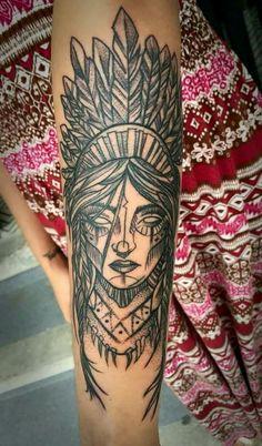 Indian Women Tattoo, Indian Girl Tattoos, Indian Feather Tattoos, Tattoos For Women, Tatto Skull, Sugar Skull Tattoos, Hand Tattoos, Sleeve Tattoos, Cool Tattoos