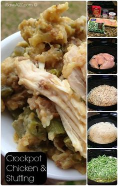 Crockpot Chicken and Stuffing Ingredients I tried this tonight, substituting chicken thighs for breasts and CA Medley Veggie blend for string beans...good, easy,  & makes A LOT.