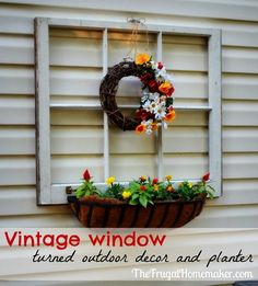 Vintage window turned outdoor decor and flower planter {Sprucing up the outdoors for spring series}