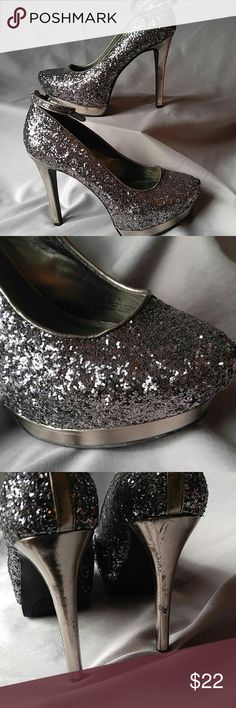 Cinderella would love these heels These heels will turn heads guaranteed. Ankle strap can be removed if you so wish. Never worn outside but heels have slight scraping from storing them (see photos). Mossimo Supply Co Shoes Heels