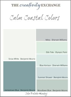 I like the woodlawn blue---maybe this will be the winner for the backsplash! Collection of calm coastal paint colors (Color Palette Monday) The Creativity Exchange Coastal Cottage, Coastal Style, Coastal Decor, Coastal Farmhouse, Nautical Style, Coastal Bathroom Decor, Bathroom Beach, Coastal Interior, Interior Colors