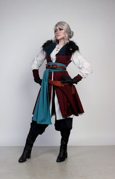 Cosplay Ciri (The Witcher) Fantasy Costumes, Cosplay Costumes, Pirate Costumes, Cool Outfits, Fashion Outfits, Steampunk Fashion, Gothic Fashion, Poses References, The Witcher