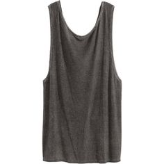 H&M Draped sleeveless top (€14) ❤ liked on Polyvore featuring tops, tank tops, shirts, h&m, dark grey, sleeveless tops, long length shirts, h&m tank tops and long shirts