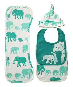 Look at this Teal Elephants Organic Bib Set on #zulily today!