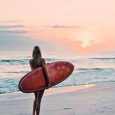 Surfer girl, swimsuit, bikini, catching waves + sunsets