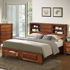 Roundhill Furniture Asger Wood Platform Bed, King, Antique Oak Finish -- Find out more about the great product at the image link. (This is an affiliate link) Headboard With Shelves, Bookcase Headboard, Bookcase Storage, Headboard And Footboard, Bed Storage, Headboards, King Size Platform Bed, Platform Bed With Storage, Wood Platform Bed