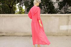 Chiffon hooded sheer kimono Kaftan dress in neon pink with