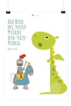 """Bibelvers auf dem Poster: """"Der Herr ist meine Stärke und mein Schild."""" - Psalm 28,7"""