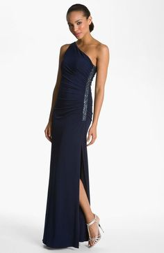 Laundry by Shelli Segal Beaded Panel One-Shoulder Jersey Gown (Regular & Petite) available at #Nordstrom