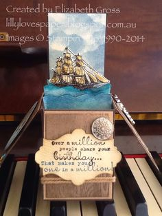 Lillybet's Papers: SUO# 105 - Embellishments, Card in a Box with the Open Sea