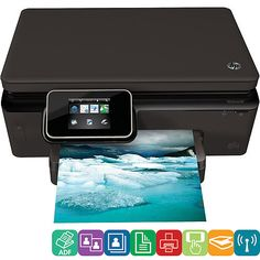 HEWLETT-PACKARD Photosmart Printer, 12ppm, 80sht Cap, 17x21x6, Black (00886112774059) Experience premium photo printing with this e-All-in-One's 3.45 (8.7 cm) gesture-enabled touch screen and automatic photo paper tray with peek window. You can also use the intuitive touch screen to scan or copy. Create lab-quality, fade-resistant photos without borders (up to 8-1/2 x 11) as well as archive-quality documents. Print from virtually anywhere with HP ePrint. Easily print and share, using ...