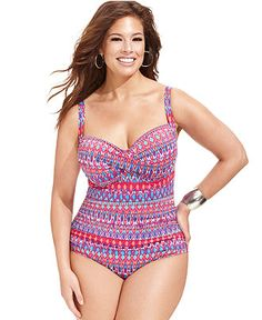 La Blanca Plus Size Tribal-Print One-Piece Swimsuit - Plus Size Swimwear - Plus Sizes - Macy's
