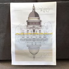 St Paul's Cathedral Tea Towel by Linescapes. Digitally Printed cotton tea towel featuring a beautiful illustration of St. Hidden Art, London Architecture, Blue Sky Background, Social Enterprise, Tea Towels, About Uk, Cathedral, Branding Design, How Are You Feeling