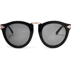 Karen Walker Black Harvest Rose Gold-Tone Sunglasses (£180) ❤ liked on Polyvore featuring accessories, eyewear, sunglasses, folding sunglasses, karen walker sunglasses, black circle glasses, circle glasses and circular sunglasses