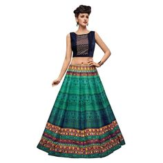 Buy Designer Green Banglori Silk With Embroidery & Print Work Semi-Stitched Lehenga Choli Online at cheap prices from Shopkio.com: India`s best online shoping site