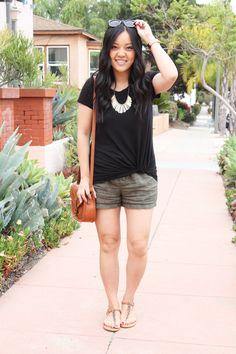 4e0f0fb5fe0 Casual Summer Outfit  Black Twist Tee + Linen Shorts + Cognac Bag + Sandals  Casual
