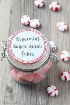 Peppermint Sugar Scrub Cubes with free printable label!