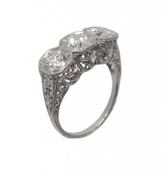 Antique Diamond Ring   Art Deco filigree ca 1920's    Zabler Design Jewelers  Reference Number: R7596