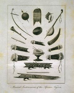 """""""Musical Instruments of the African Negroes,"""" from John Gabriel Stedman, Narrative, of a Five Years' Expedition, against the revolted Negroes of Surinam... from the year 1772, to 1777 (London, 1796). Includes drums, various stringed instruments, banjo, flute, horn, thumb piano (kalimba), marimba, rattles, and more."""