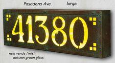 Large Arts & Crafts Lighted Address Plaque