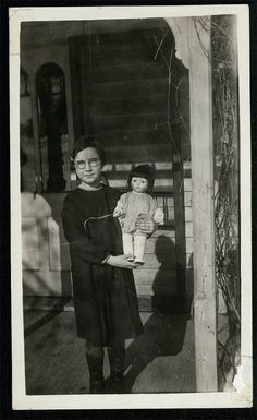 vintage photo Avis is Eight w Big Doll on Porch 1926 by maclancy, $14.00