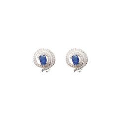 Brinco Labirinto Azul folheado a ouro branco (rodhium) com zircônia azul e microzircônias cravadas. #brinco #brincos #earrings #earring #jewels #jewel #semijoias