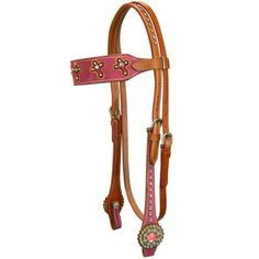 Pink Suede Cross Browband Headstall by Krazy Girl Tack
