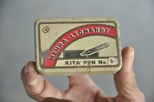 Vintage Megra Leonardt Kita Pen No.6 Ad litho Tin Box with Nibs