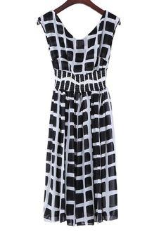 Black Striped Zipper V-neck Sleeveless Backless Chiffon Dress