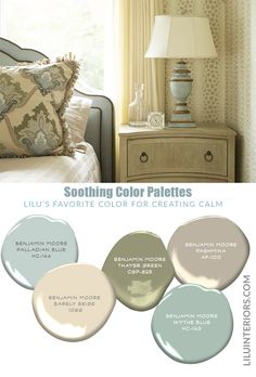 Blues and greens have calming and soothing effects, making these color schemes perfect for those seeking a peaceful feel in their design and home! Soothing Paint Colors, Bedroom Paint Colors, Paint Colors For Living Room, Paint Colors For Home, House Colors, Paint Colours, Interior Color Schemes, Interior Design Advice, Palladian Blue