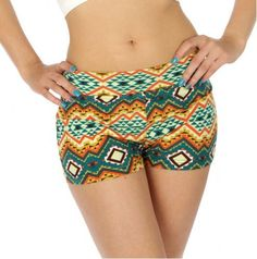 Hotel Party Green and Ivory Vintage Aztec Print Super Stretch Shorty Shorts - Juniors Sizing - The Rustic Shop