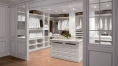 Glamorous Cool Walk In Closet Decoration Exposed U Shape White Furniture With Drawers In The Middle Also Extra Hanging Clothes For Fashion Collection And Open Shelves Ideas. White painted room give the impression the room becomes more widespread. Walk in closet neatly arranged fashion collection. hung. shoes and bags are placed in drawers or shelves. In the middle are given drawers can also serve as a table.