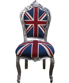 Union jack Chair french antique dining chair french louis xv and baroque furniture reproductions French Dining Chairs, Antique Dining Chairs, Fabric Dining Chairs, Chair Fabric, Baroque Furniture, Painted Furniture, Furniture Vintage, Funky Furniture, Union Jack Decor