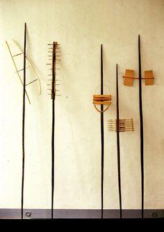 Sculpture: Catherine Willis.Made ofwood, porcupine quills, vetiver, carbonfiber, black cotton ligatures.  (photo:Ivan Terestchenko)