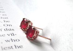 Ruby Earrings, Rose Gold Earrings, Boho Earrings, Statement Earrings, Earrings Handmade, Filigree Earrings, Gold Filigree, Handmade Jewelry, Modern Jewelry