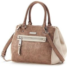 Dana Buchman Isabelle Convertible Shopper (Brown) ($47) ❤ liked on Polyvore featuring bags, handbags, tote bags, brown, vegan leather tote, faux leather tote bag, shopping tote, brown handbags and zip tote