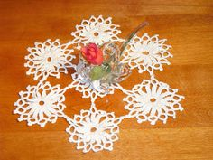 Crocheted Table Doily Individual Flowers by EauPleineVintage