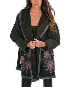 Another great find on #zulily! Black Sophie Wool-Blend Hooded Jacket - Plus Too #zulilyfinds