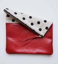 Red Polka Dot Canvas & Leather Foldover Clutch | Keep your essentials safely stowed and easily accessible with ... | Clutches & Special Occa...