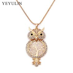 Best Long Sweater Owl Chain Necklace Cheap(Rhinestone Animal Owl Big Pendant) Owl Jewelry, Diamond Jewelry, Jewlery, Owl Necklace, Pendant Necklace, Wise Owl, Girls Necklaces, Long Sweaters, School Supplies