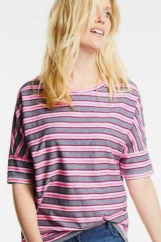 Oversize Shirt mit Streifen Pink, Street, Tops, Women, Fashion, Medium Long, Cotton, Moda, Women's